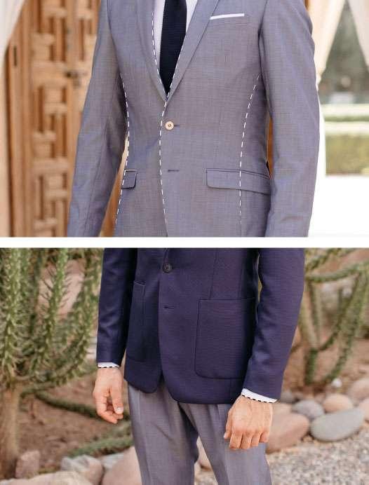 Le boutonnage d'une veste et la longueur de la chemise costume sur mesure paris