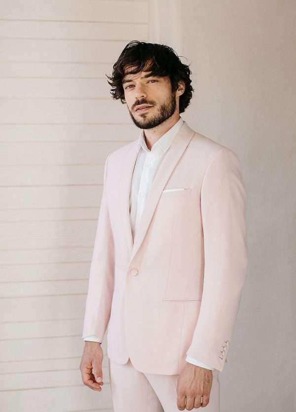 costume sur mesure rose pâle pour mariage faubourg saint sulpice