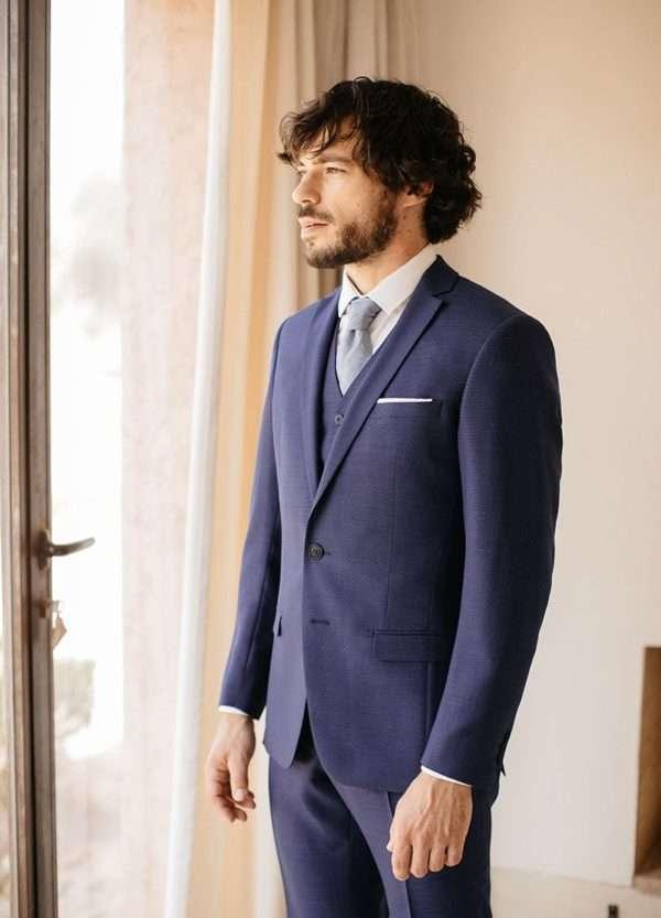 costume de mariage 3 pièces sur mesure en laine chiné bleu marine faubourg saint sulpice