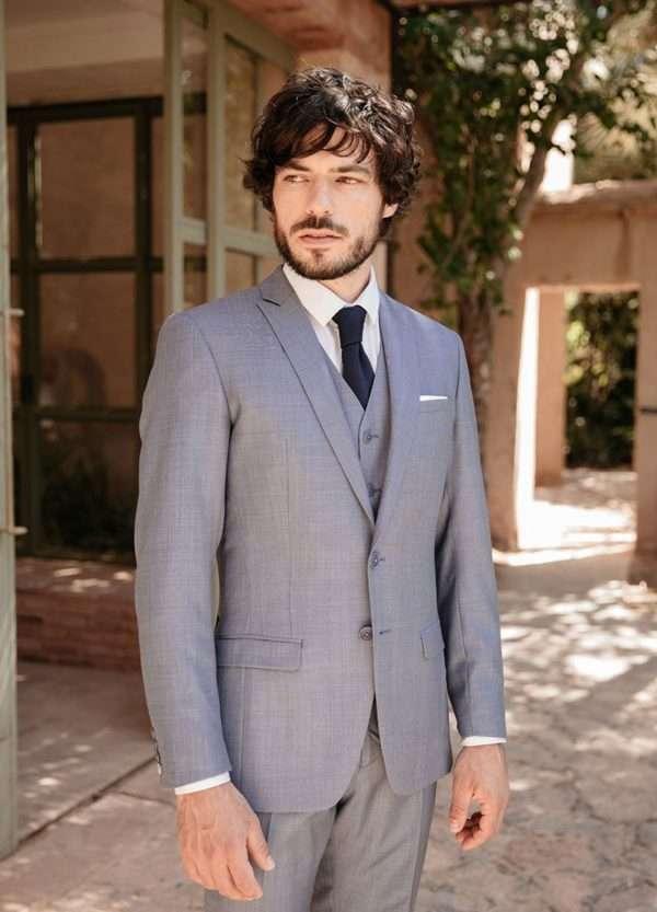 costume sur mesure 3 pièces business mariage bleu gris faubourg saint sulpice