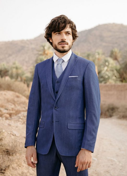 costume sur mesure 3 pièces denim bleu