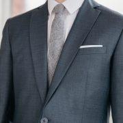 costume sur mesure bleu gris