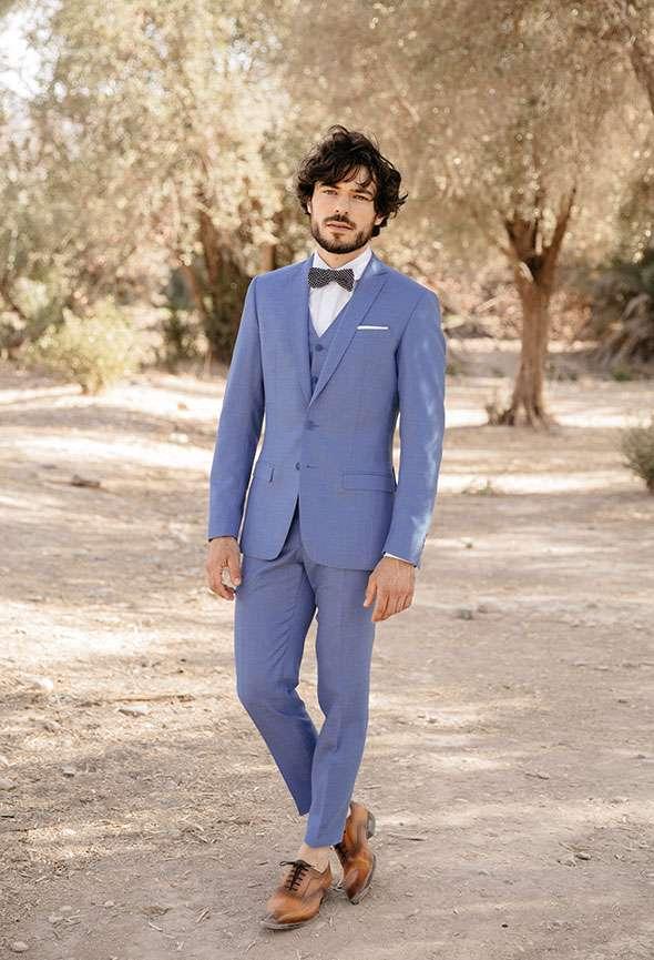 costume 3 pièces bleu
