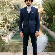 costume 3 pièces bleu chiné
