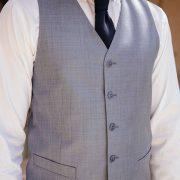 costume bleu gris