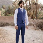 costume de mariage 3 pièces bleu