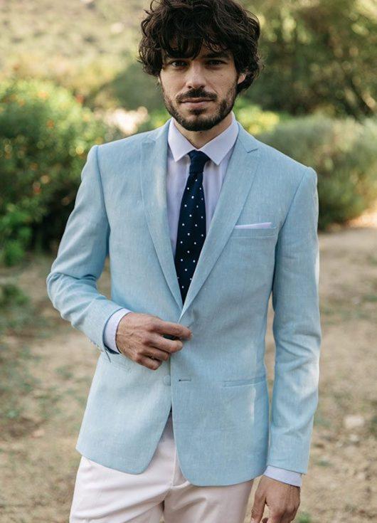 costume sur mesure mariage dépareillé bleu clair et rose
