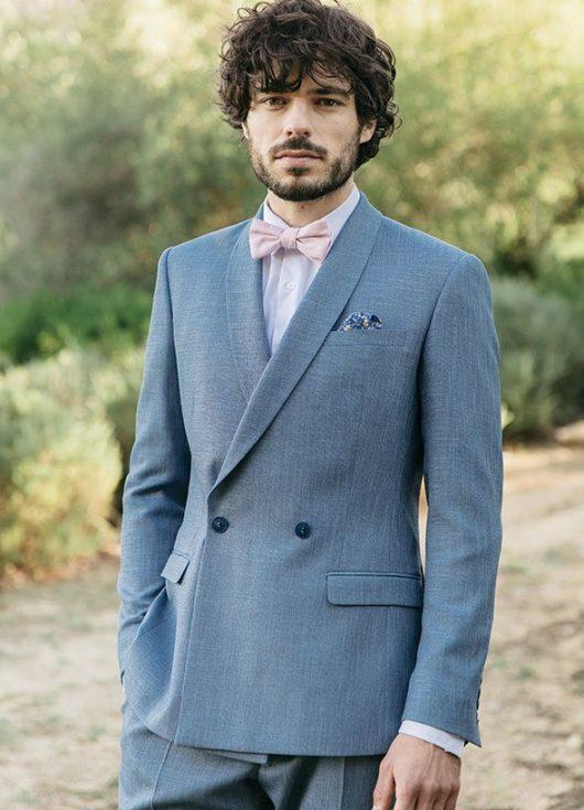 costume sur mesure mariage col châle bleu
