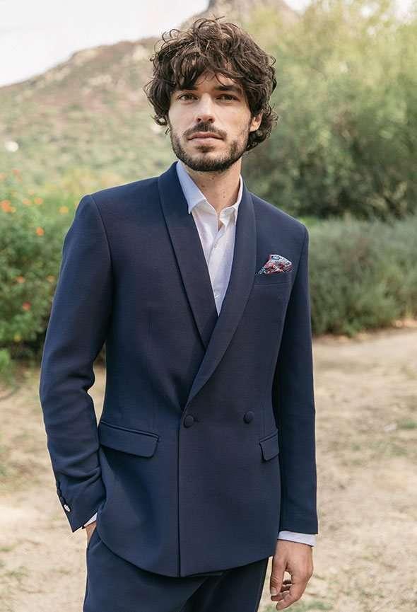 costume sur mesure bleu marine col châle