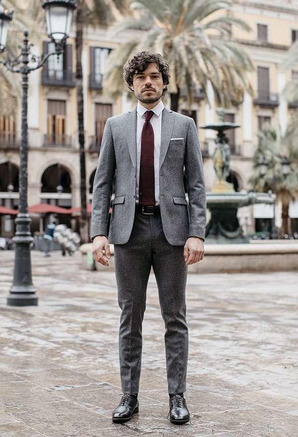 costume sur mesure gris flanelle tailleur paris homme faubourg saint sulpice