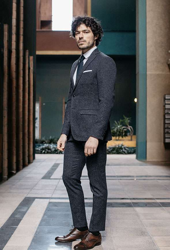 costume sur mesure bleu chiné marine tailleur paris faubour gsaint sulpice homme élégant original