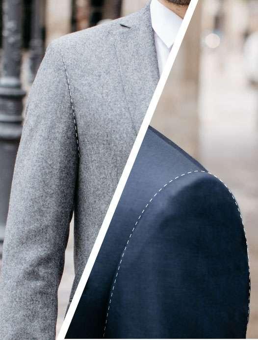 épaule de veste et emmanchure de veste costume sur mesure tailleur paris
