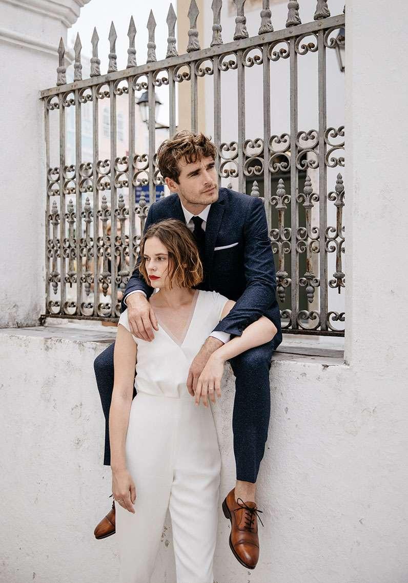 Costume 3 pièces mariage Eva Faubourg Saint Sulpice étoffe laine mouchetée bleu sur mesure tailleur paris homme