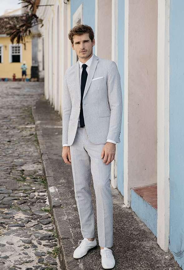 étoffe costume sur mesure homme paris seersucker bleu blanc rayures
