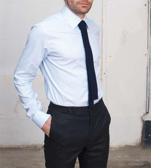 chemise bleu rayée blanche sur mesure tailleur paris homme
