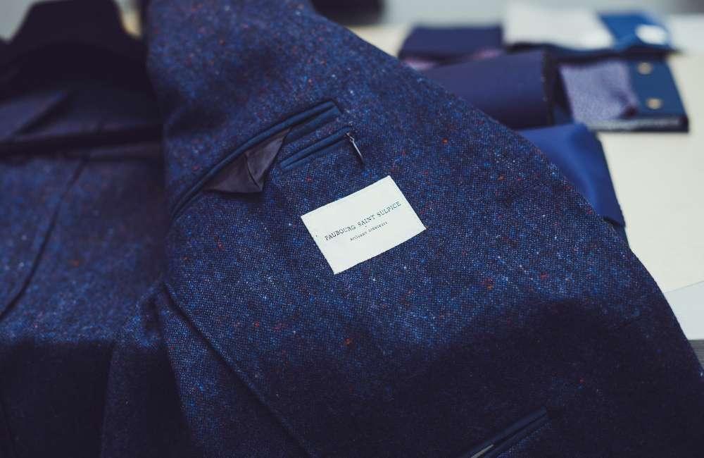 veste bleue faubourg saint sulpice Paris costume sur mesure